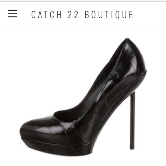 fccb3a44307 M_5b284d7daaa5b847055ab9fa. Other Shoes you may like. YSL Tribtoo Pump. YSL  Tribtoo Pump. $120 $795. Saint Laurent black patent leather tribtoo pumps